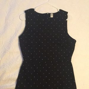 Fitted black polka dot business dress